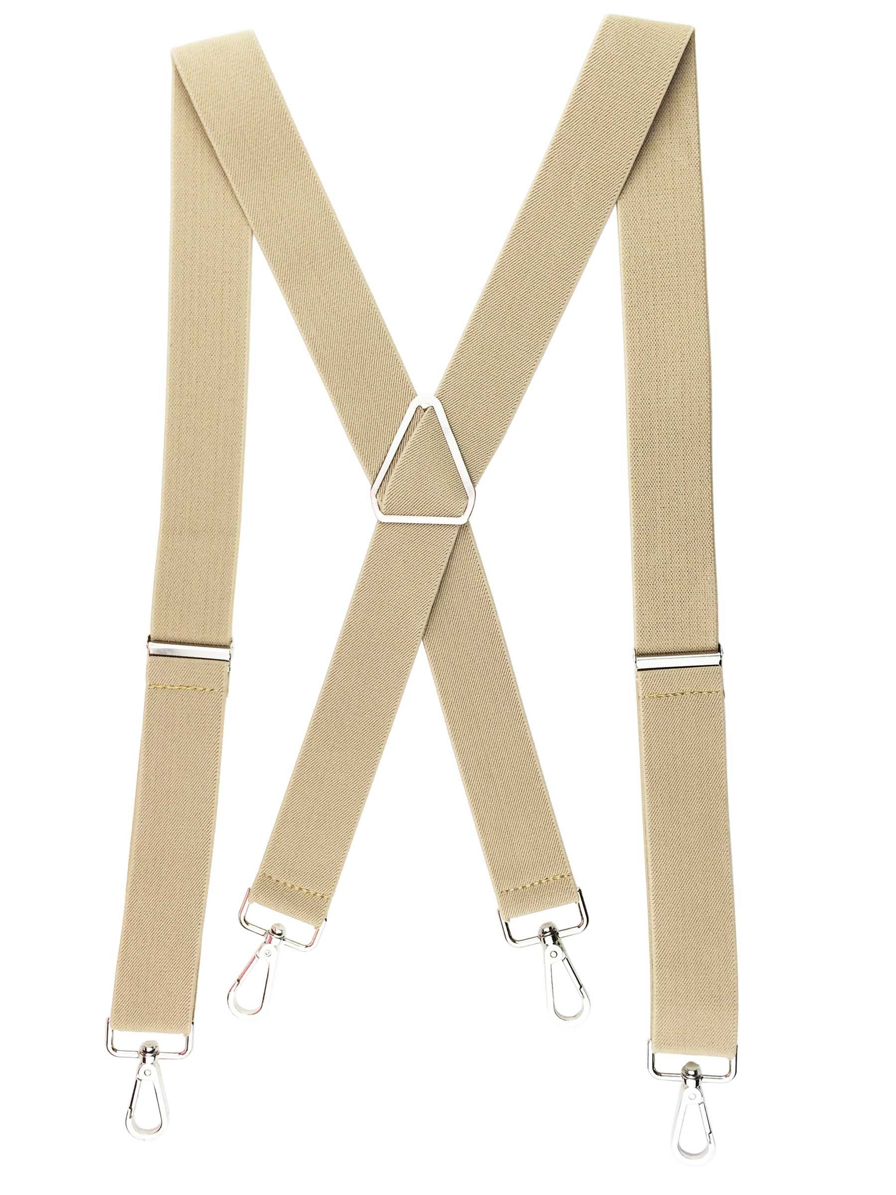 Romanlin Mens Suspenders with Hooks on Belt Loops Heavy Duty Big and Tall Braces Tan