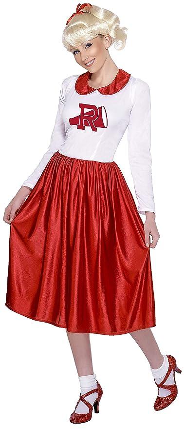 Smiffys Smiffys- Licenciado Oficialmente Disfraz de Sandy de Grease, Rojo y Blanco, con Vestido, Color, M - EU Tamaño 40-42 29797
