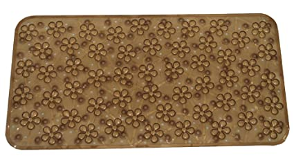 Kuber Industries PVC Bath Mat with Suction Cups - 26 x 14, Brown