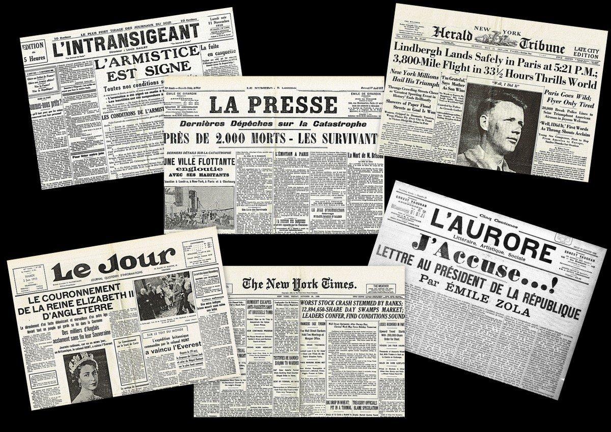 Lot de 6 sets de table plastifiés vieux journaux