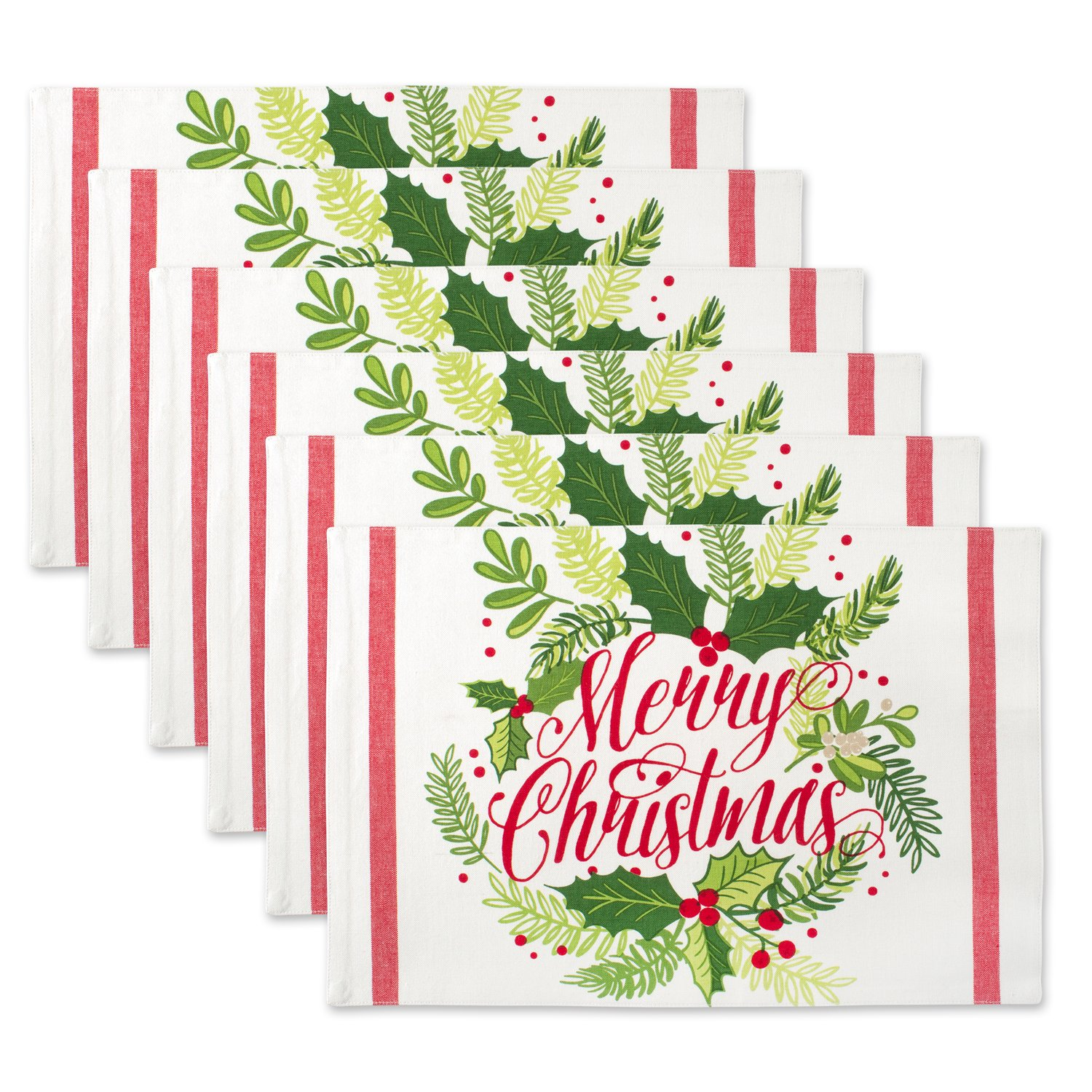 DII 100% Cotton, Printed Everyday Basic Placemats, Fused and Lined, 13x19'', Merry Christmas Holly, Set of 6