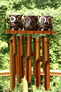 G6 Collection Handmade Wooden Owl Bamboo Wind Chime Wood Statue Figurine Hoot Sculpture Art Decorative Rustic Patio Garden Outdoor Decor Handcrafted Decoration (See Hear Speak No Evil Owls Chime)