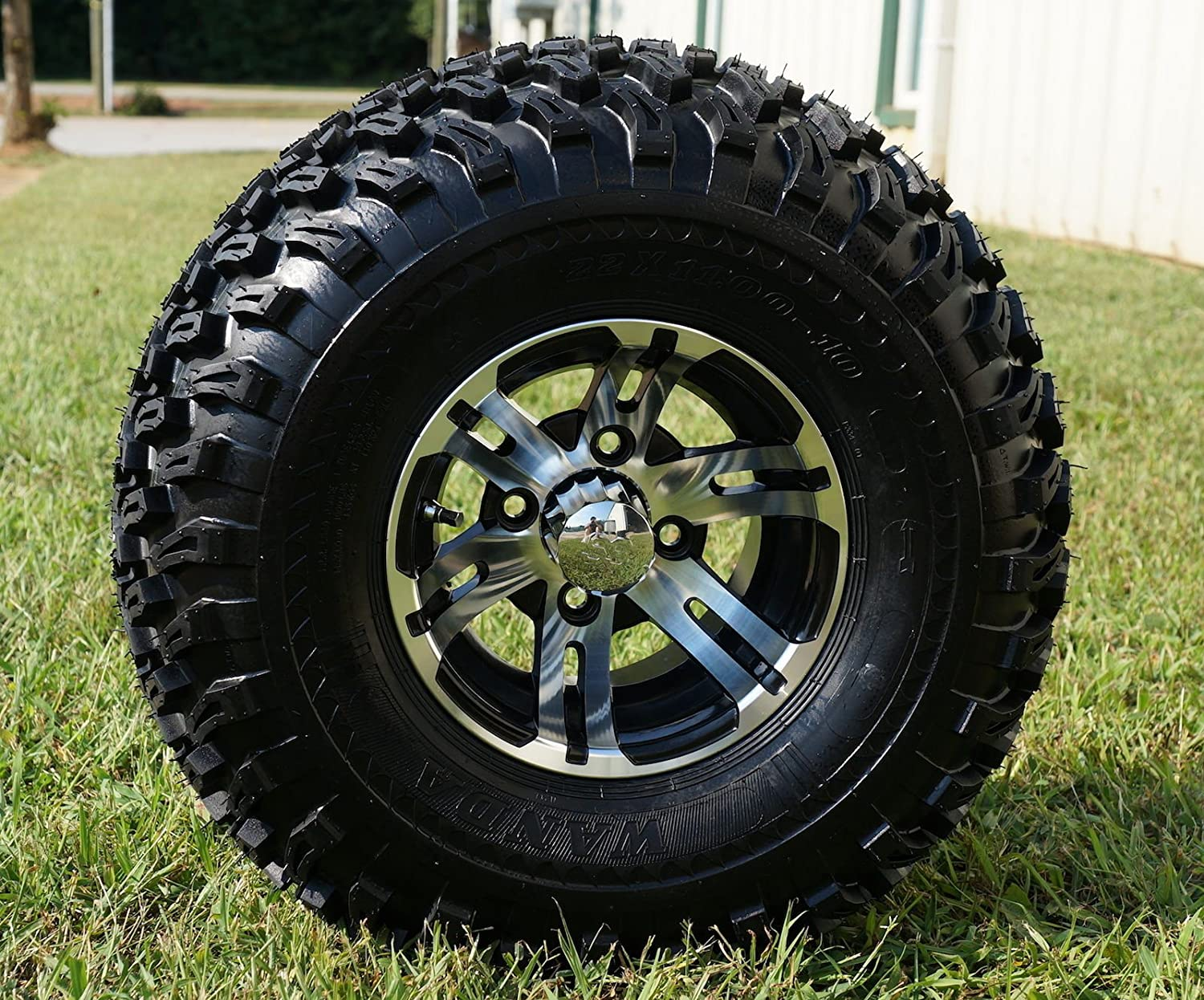 "10"" Golf Cart Wheels and Tires Combo Set of 4 Machined/Black w/ All Terrain Tires 81E2zf1yX2LSL1500_"