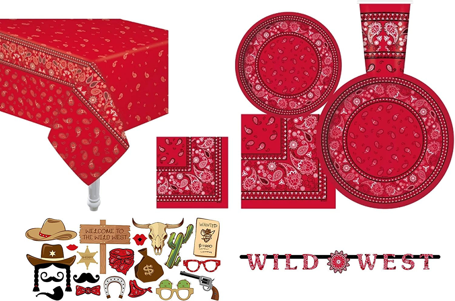 Serves 30 | Essential Party Pack | Red Bandana Western Party Supplies | 9