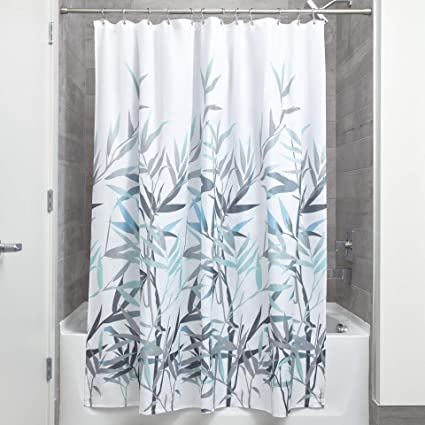 InterDesign Anzu Fabric Shower Curtain Water Repellent And Mold Mildew Resistant For