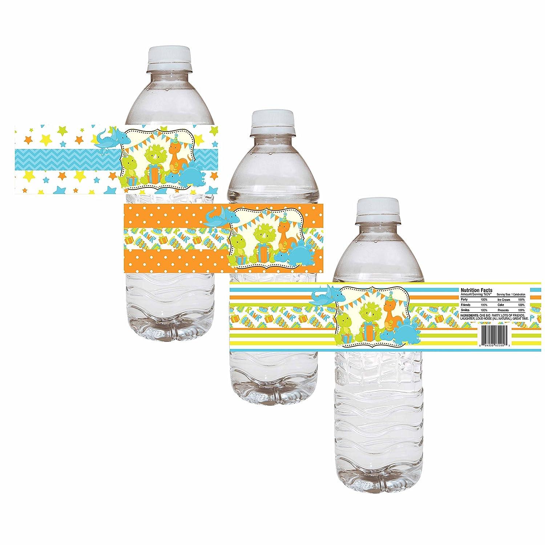 conjunto de 12 EU Dinosaurio etiquetas de las botellas de agua del partido muchacho de los ni/ños de cumplea/ños de la fiesta de bienvenida bebida de la etiqueta Adorebynat Party Decorations