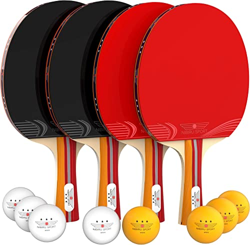 NIBIRU SPORT Ping Pong Paddle Set 4-Player Bundle , Pro Premium Rackets, 3 Star Balls, Portable Storage Case, Complete Table Tennis Set with Advanced Speed, Control and Spin, Indoor or Outdoor Play