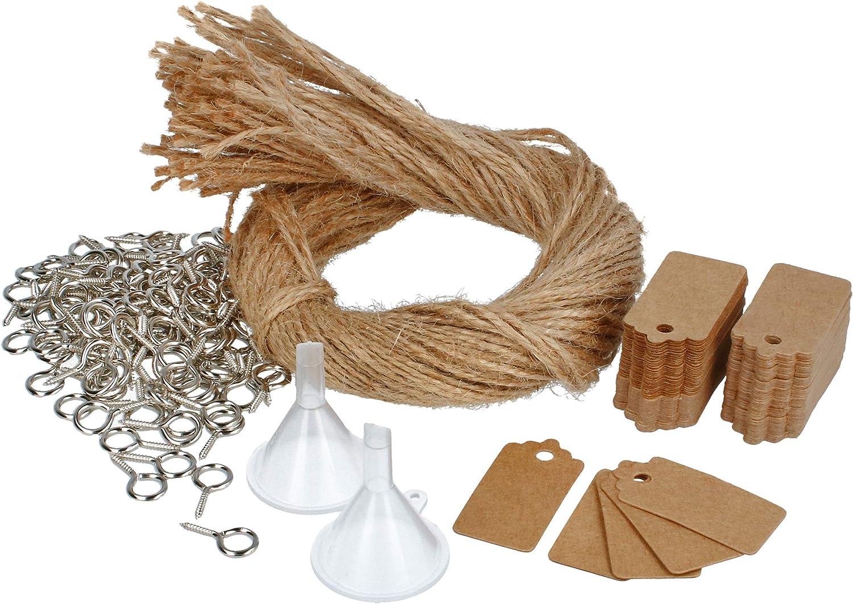 com-four® 100x Conjuntos de accesorios para llenar, decorar y colgar tarros de especias con corchos - para mini botellas de vidrio y bricolaje (100 piezas - accesorios)