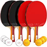 NIBIRU SPORT Ping Pong Paddle Set (4-Player Bundle), Pro Premium Rackets, 3 Star Balls, Portable Storage Case, Complete Table