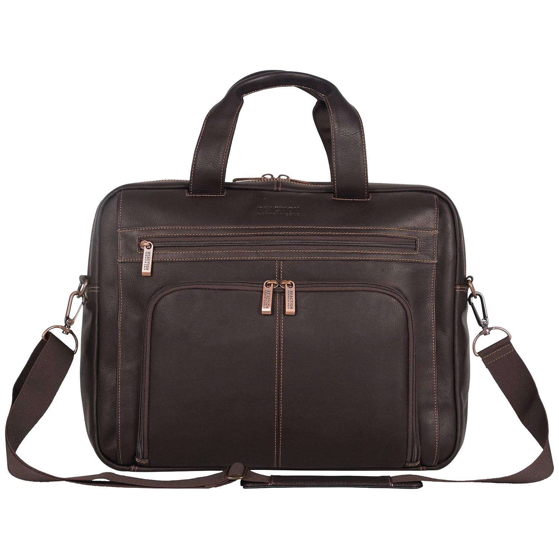 Kenneth Cole Reaction Colombian Leather Dual Compartment Expandable 15.6 Laptop Portfolio, Brown