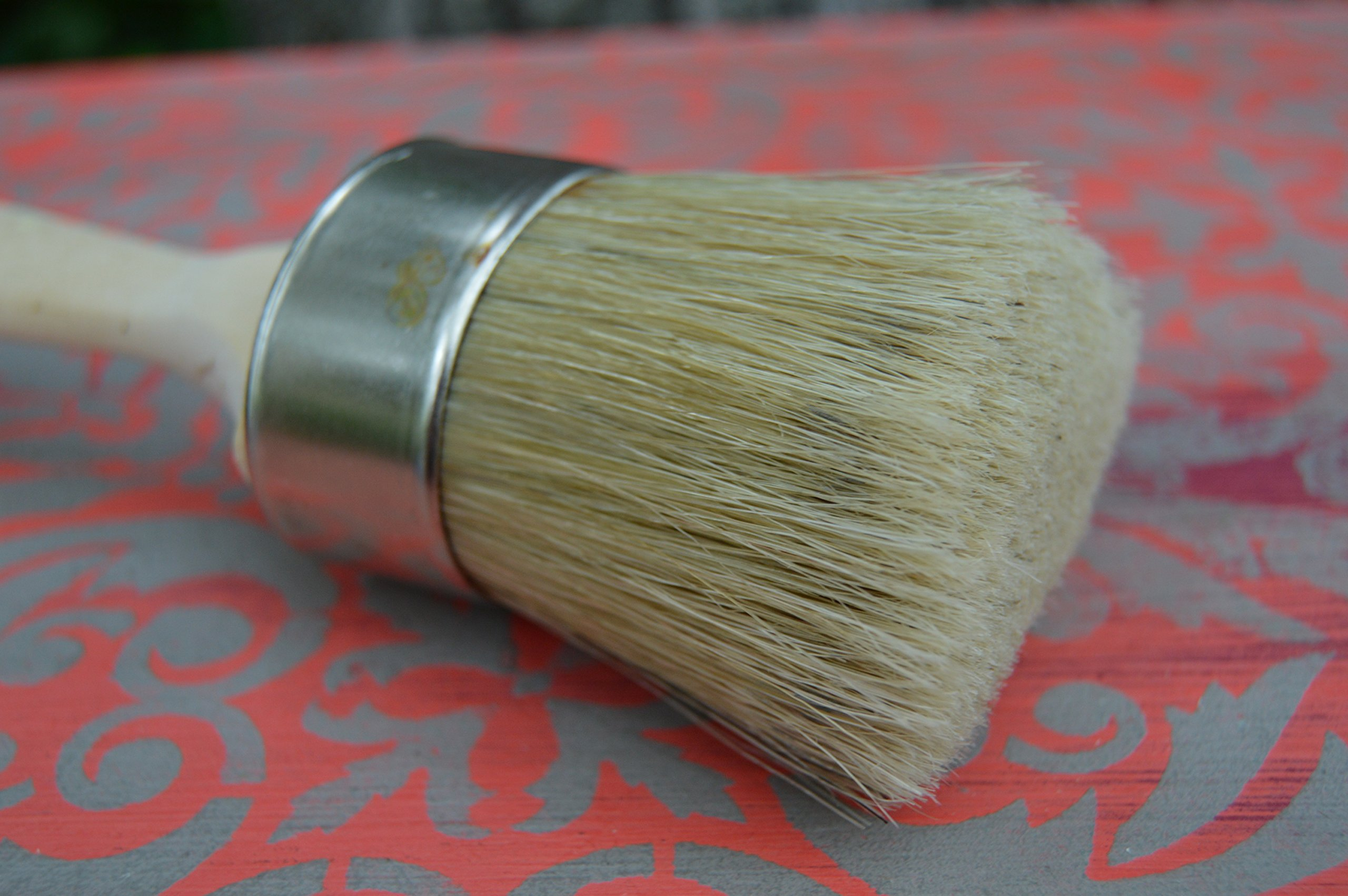 Chalkology - Oval Paint and Wax Brush, Medium,Professional Chalk Paint Wax Brush | Painting or Waxing | Annie Sloan Dark & Clear Soft Wax | Furniture, Stencils, Folkart, Home Decor, Wood