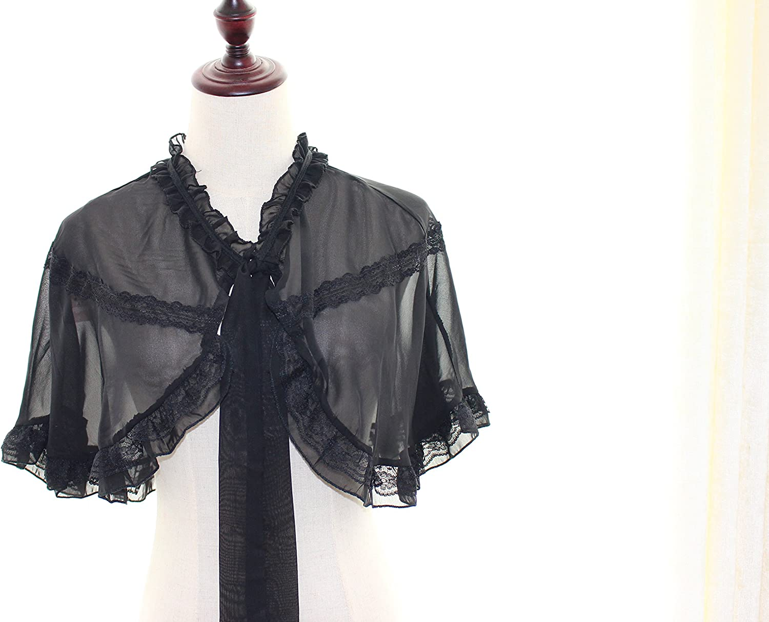 MAYSONG Chiffon Cape Overall from Noble Lace Collar Steampunk Victorian Costume