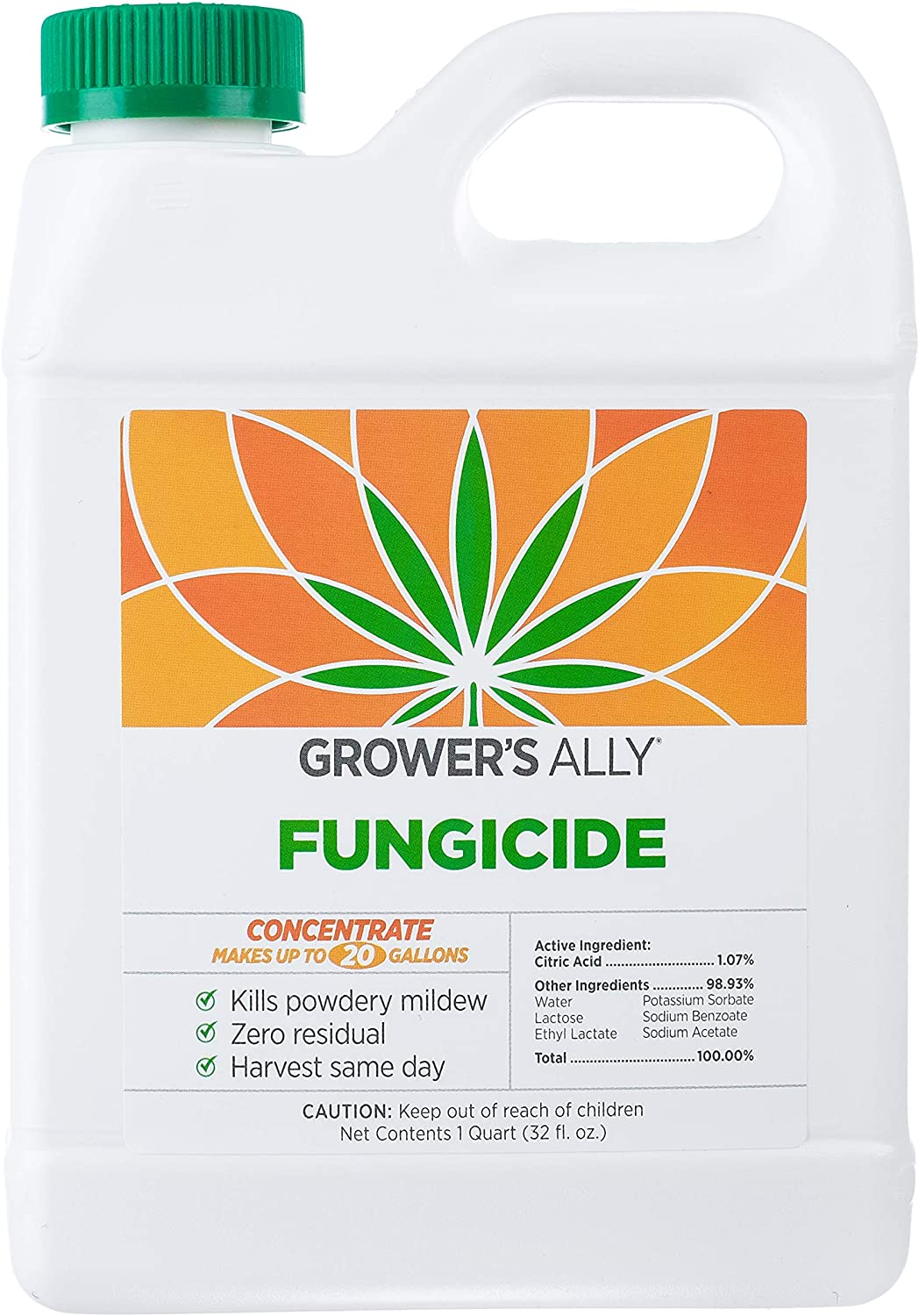 Grower's Ally Fungicide | 32 fl. oz. Concentrate, Makes 20 Gallons | Safe Fungicide and Bactericide for Plants | OMRI Listed