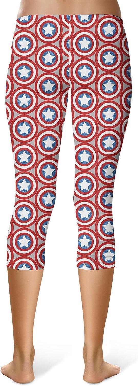 Mid//High Waist Red Rainbow Rules Superhero Shields Sport Leggings Capri Length