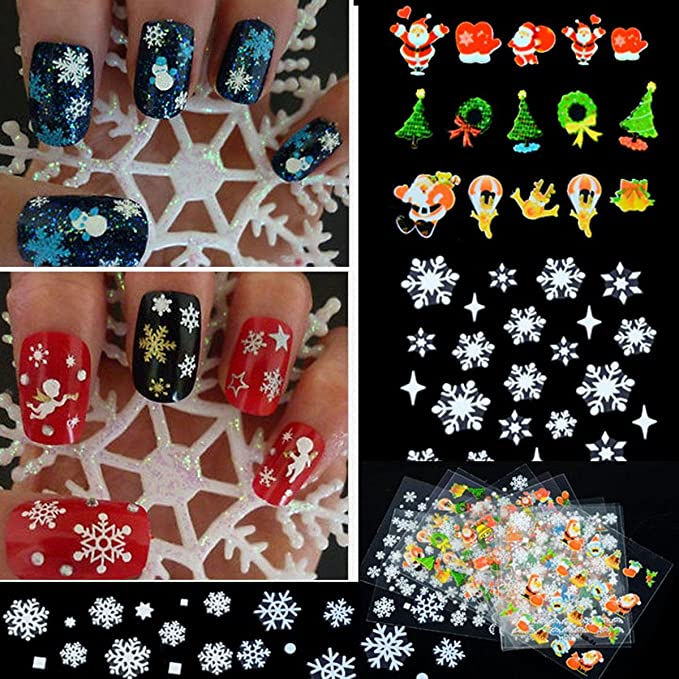 Amazon.com: 12 Sheet Christmas Snowflake Tree 3D Nail Art Sticker ...