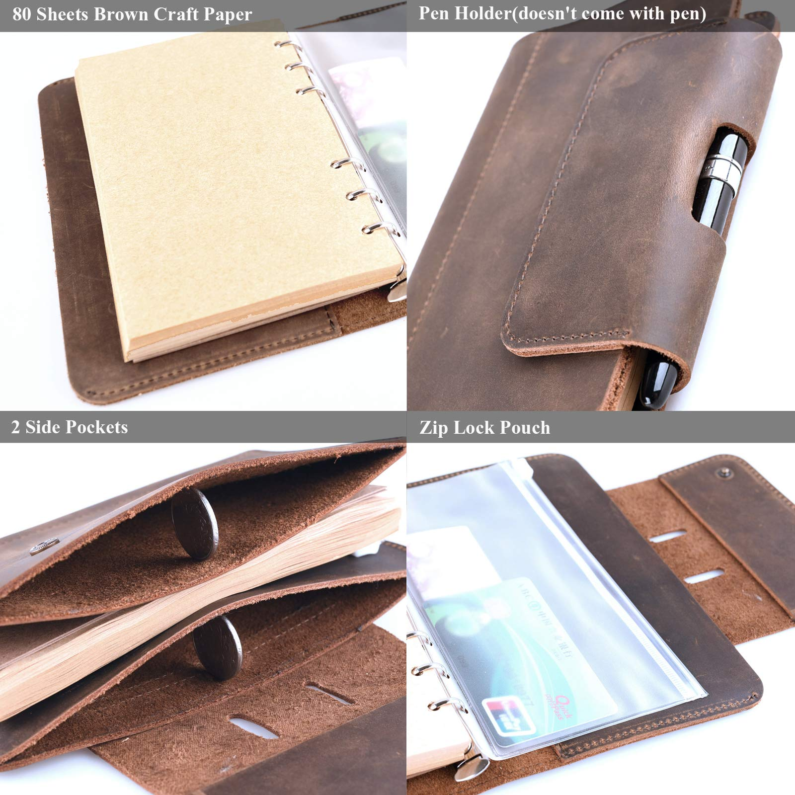 Personalized Leather Journal Notebook Genuine Handmade Customized Refillable Travel Daily Notepad Sketchbook,Vintage Card Phone Cover Gift for Men Women 7.4 x 4.8'' (A6-Personalized) by Z'arte (Image #4)