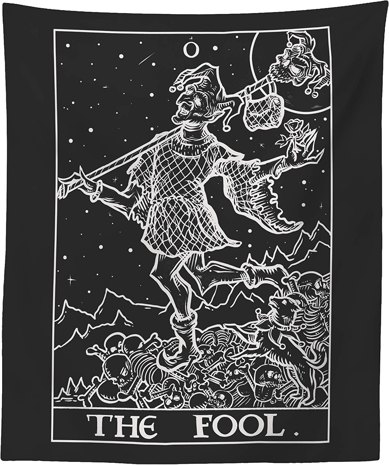 The Fool Tarot Card Tapestry (Black & White) - Court Jester - Gothic Halloween Home Decor Wall Hanging (60