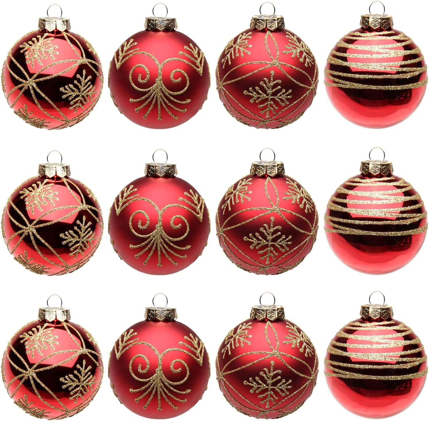 12 Pcs Christmas Ball Ornaments Shatterproof Xmas Tree Decorations Seamless Painted Glass Hanging Christmas Balls Ornaments for Holiday Wedding Party Home Decor (75mm/2.95