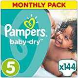 Pampers Baby Dry, 144 Pannolini, Taglia 5 (11-25 kg)