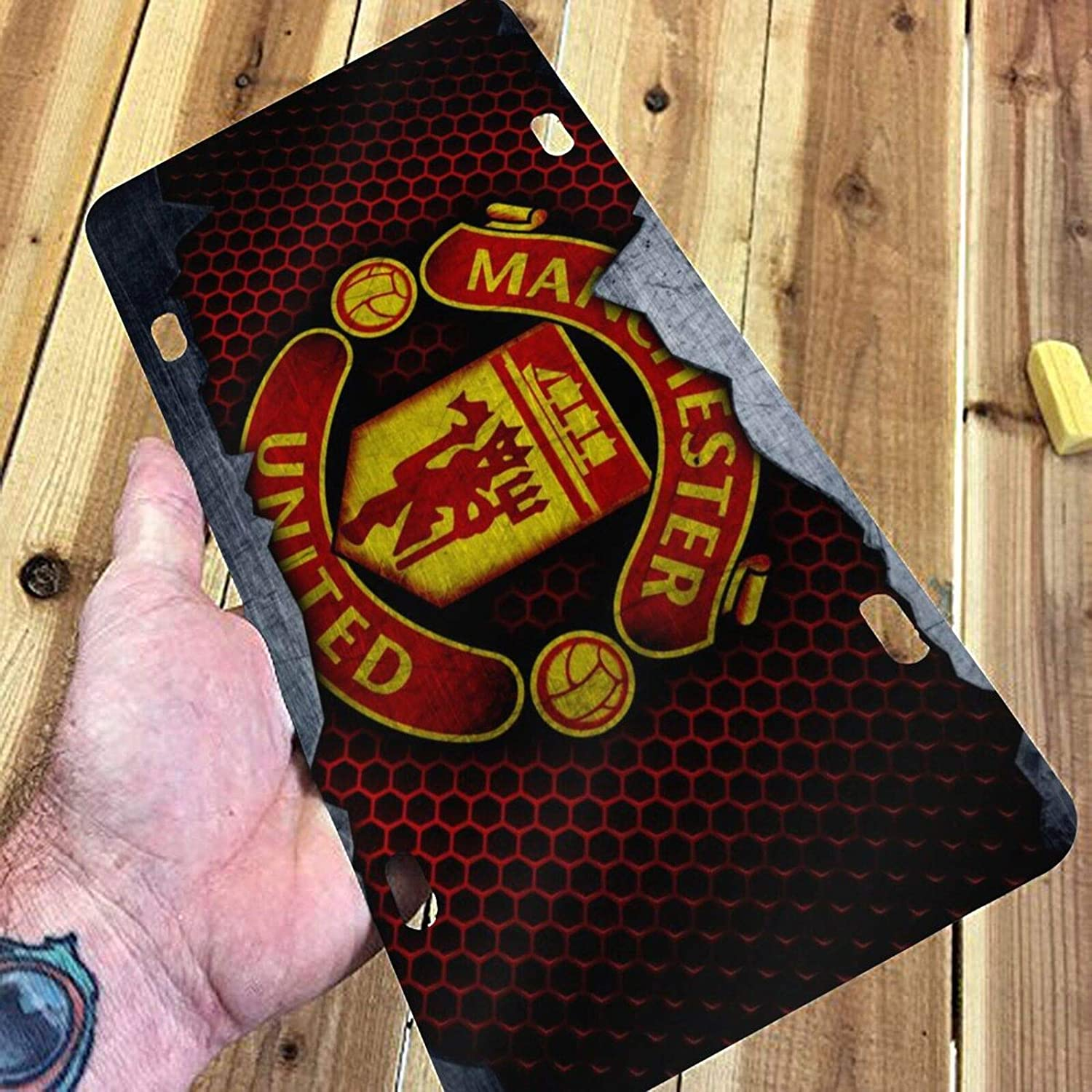 6 X 12 Yuhaw Manchester United Football Metal License Plate Car Decorative Front Tag