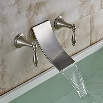Rozin Wall Mounted 2 Handles Widespread Bathtub Faucet Brushed