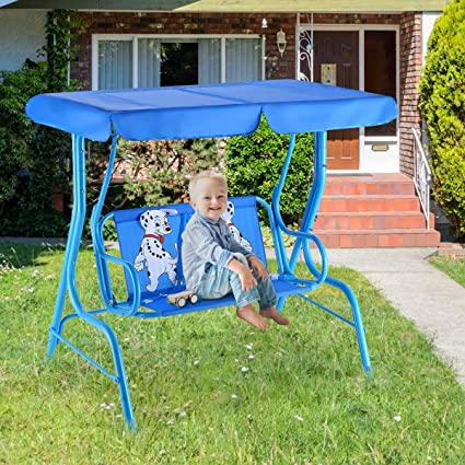 Childrens Kids Swing Chair Bench w// Canopy Outdoor Garden Toy 2 Seat 4 styles