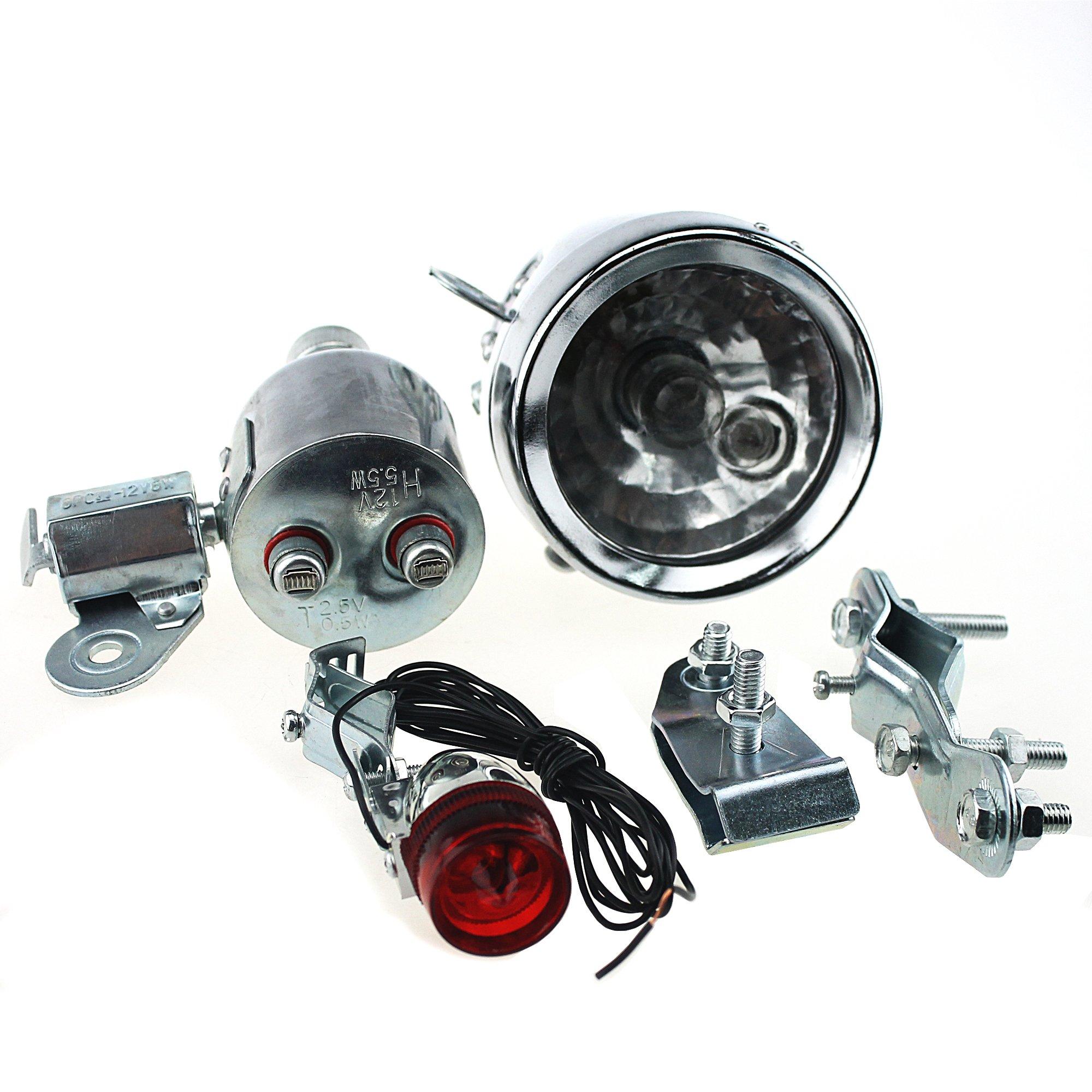 Ambuker 12V 6W Bicycle Motorized Bike Friction Generator Dynamo Headlight Tail Light Kit
