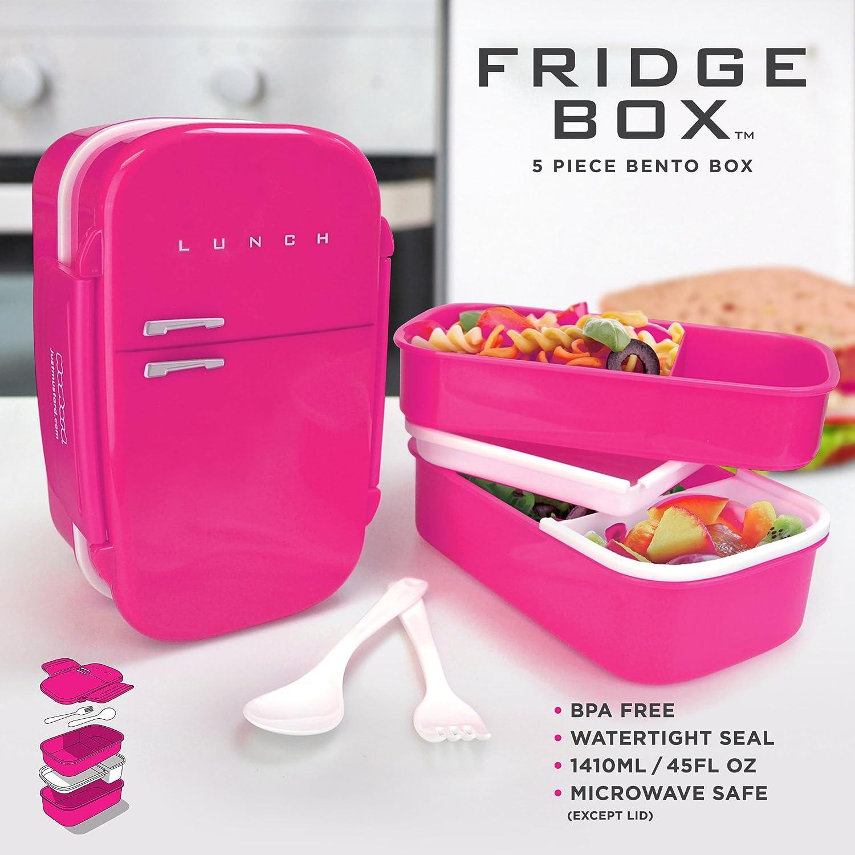 Just Mustard M15010B Fridgebox Bento Box a Tenuta Stagna Rosa Forma di Frigorifero con Posate Plastica