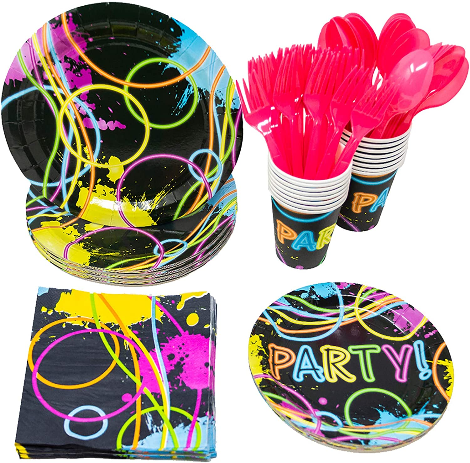 Blue Orchards Glow Party Party Supplies Packs (113+ Pieces for 16 Guests!), Glow Party Supplies, Tableware