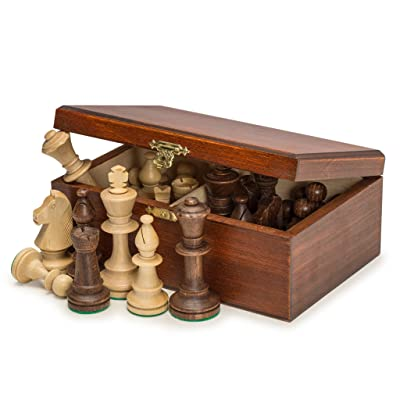 Wegiel Handmade European Professional Tournament Chess Pieces With Wood Storage Case: Toys & Games