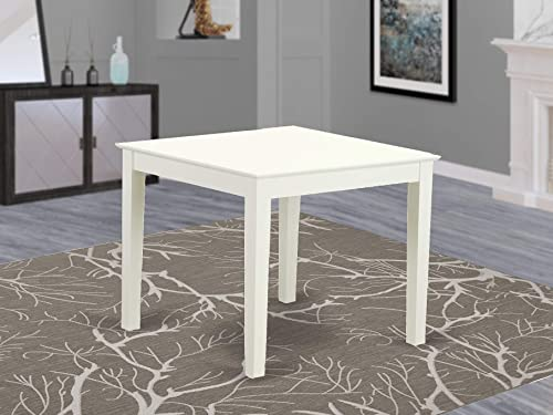 East West Furniture OXT-LWH-T Oxford Wooden Dining Room Small Table, Square, Linen White Finish