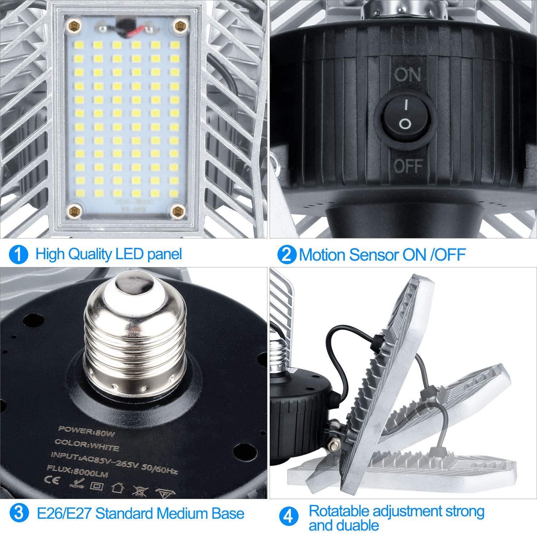 Shop-Licht f/ür die Garage 8000LM-Garagen-LED-Beleuchtung 3 einstellbare Panels LED-Garagenbeleuchtung Upgrade 80W Motion Aktivierte LED-Garagenleuchten Beste LED-Garagen-Deckenleuchte