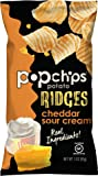 Popchips Ridged Potato Chips, Cheddar & Sour Cream Potato Chips, 12 Count (3 oz Bags), Gluten Free, Low Fat, No Artificial Flavoring, Kosher
