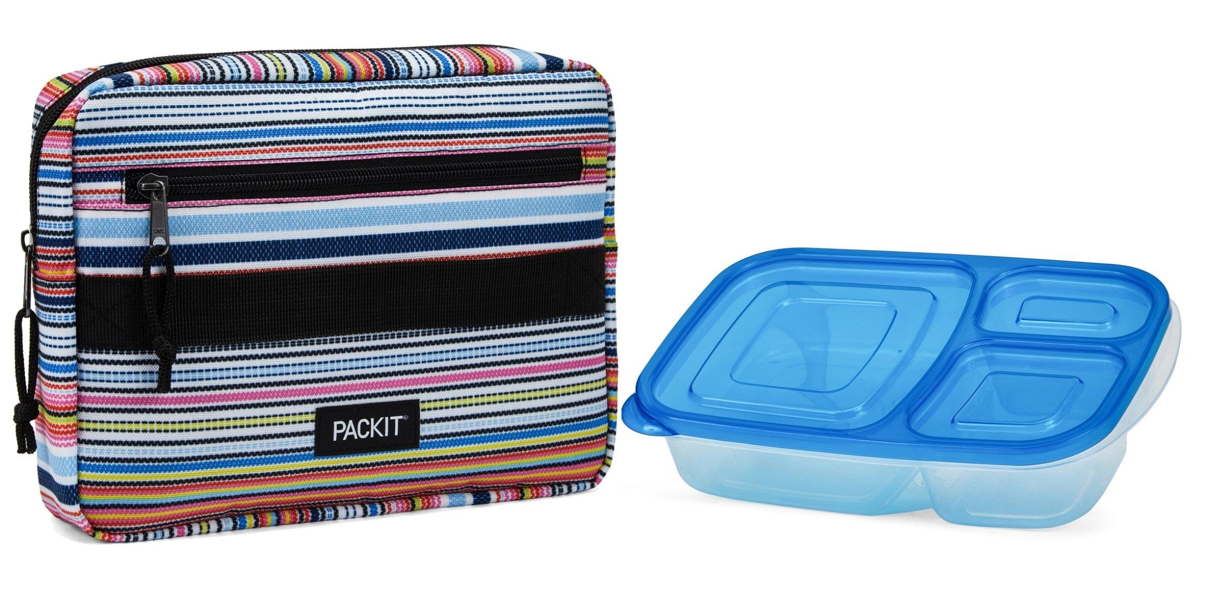 PackIt Freezable Bento Box Set: Freezable Sleeve and Reusable Bento Box Container, Blanket Stripe