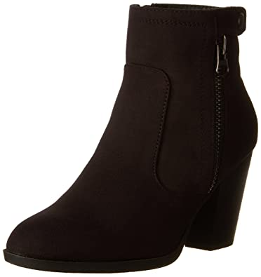 Women's Bunty Faux Suede Cowboy Stacked Heels Ankle Booties with side accents
