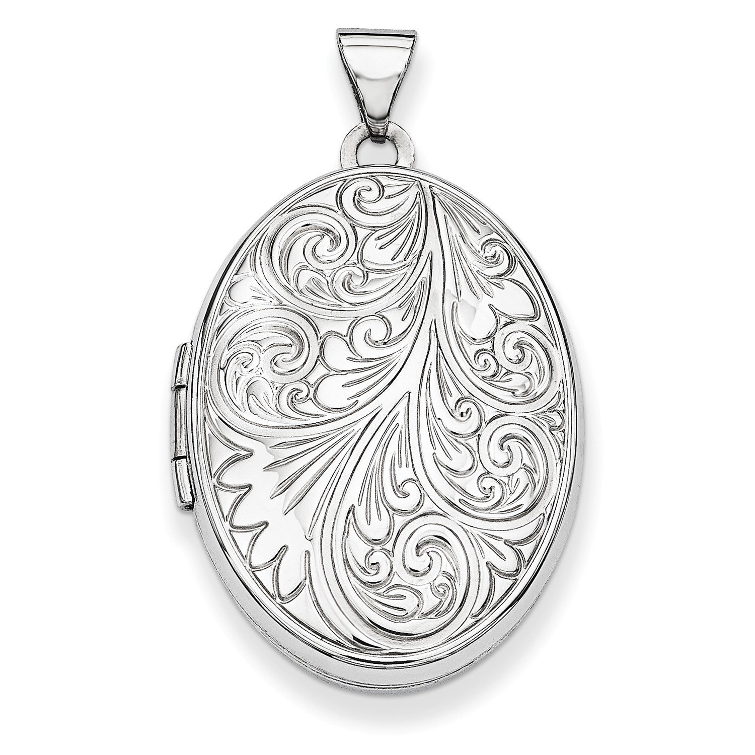 Roy Rose Jewelry 14K White Gold Scroll Oval Locket 26x20mm by Roy Rose Jewelry