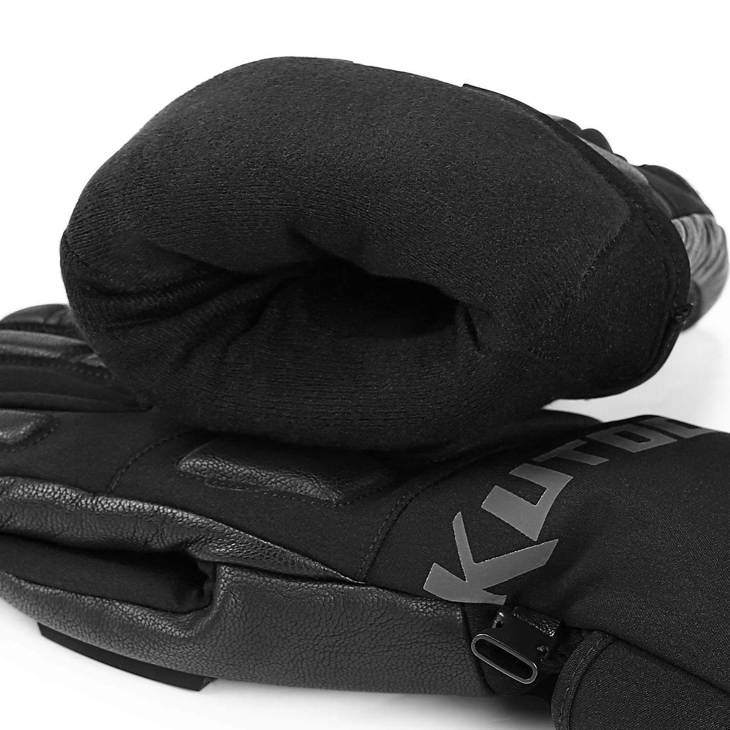 KUTOOK Snow Gloves Men with HIPORA Waterproof Membrane Goat Leaher Palm 3M Thinsulate Insulation for Skiing Snowboarding