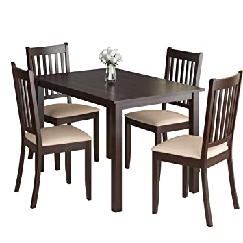 Pleasing Amazon Com Corliving Drg 595 Z Atwood Dining Set Brown Machost Co Dining Chair Design Ideas Machostcouk