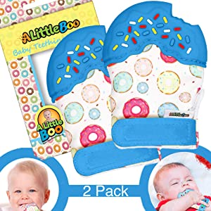 A Little Boo Baby Teething Mitten -Teether Glove - Infants Newborn Teething Toy [Food Grade Silicone] [Teething Pain Relief] [Self Soothing] [Adjustable Strap] [Blue]