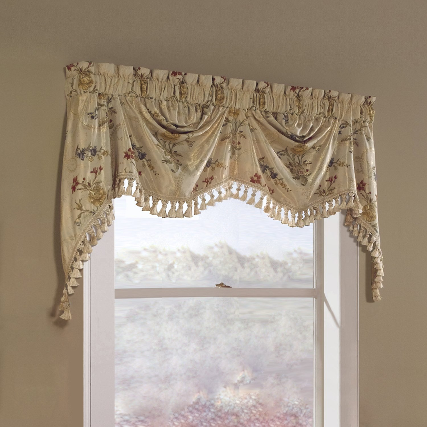 Amazon United Curtain Jewel Heavy Woven Austrian Valance 108 By 30 Inch Multi Home Kitchen