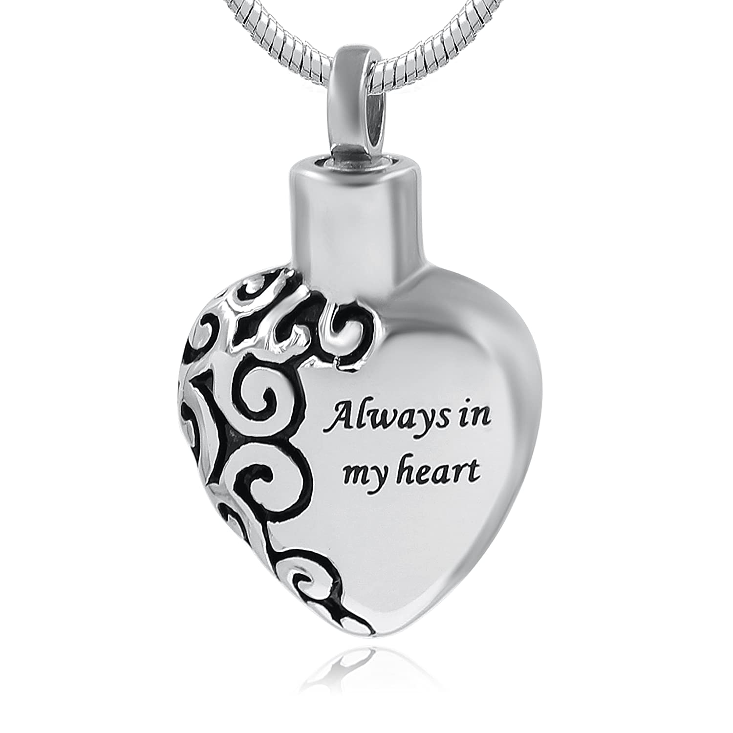 Hufan Always in My heart Cremation Urn Necklace for Ashes UK_B07719VWBH