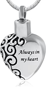 Hufan Always in My Heart Cremation Urn Necklace for Ashes