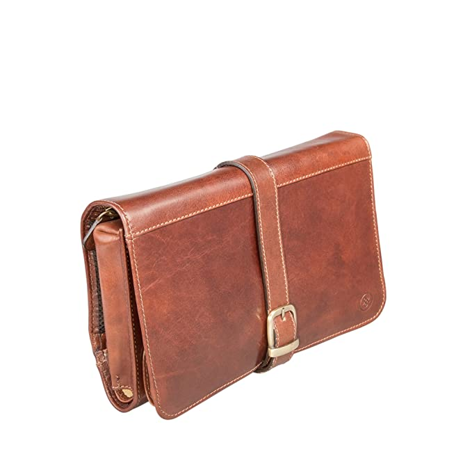 c87e2e015f Maxwell Scott® Personalised Luxury Tan Leather Hanging Toiletry Bag Mens ( Pratello)  Maxwell Scott  Amazon.co.uk  Luggage