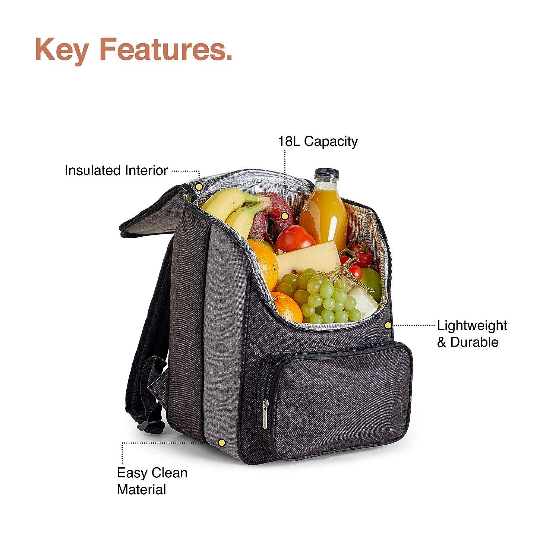 Grey VonShef 18L Cooler Backpack Lightweight Soft Insulated Picnic Cooler Bag