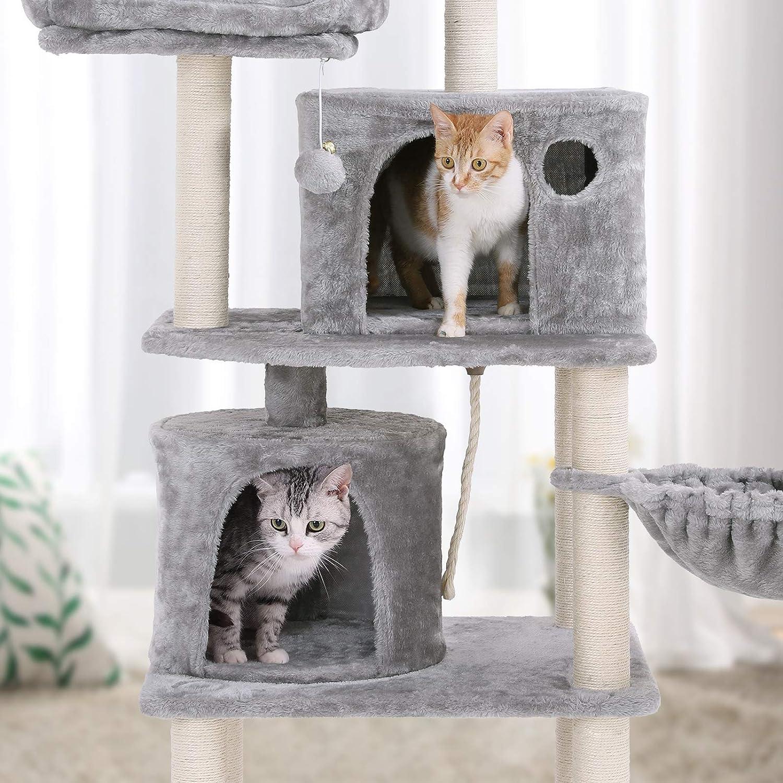 FEANDREA Árbol para Gatos, Rascador para Gatos con Postes Recubiertos de Sisal, Varias Plataformas, Centro de Actividades para Gatos Gris Claro PCT90W: ...