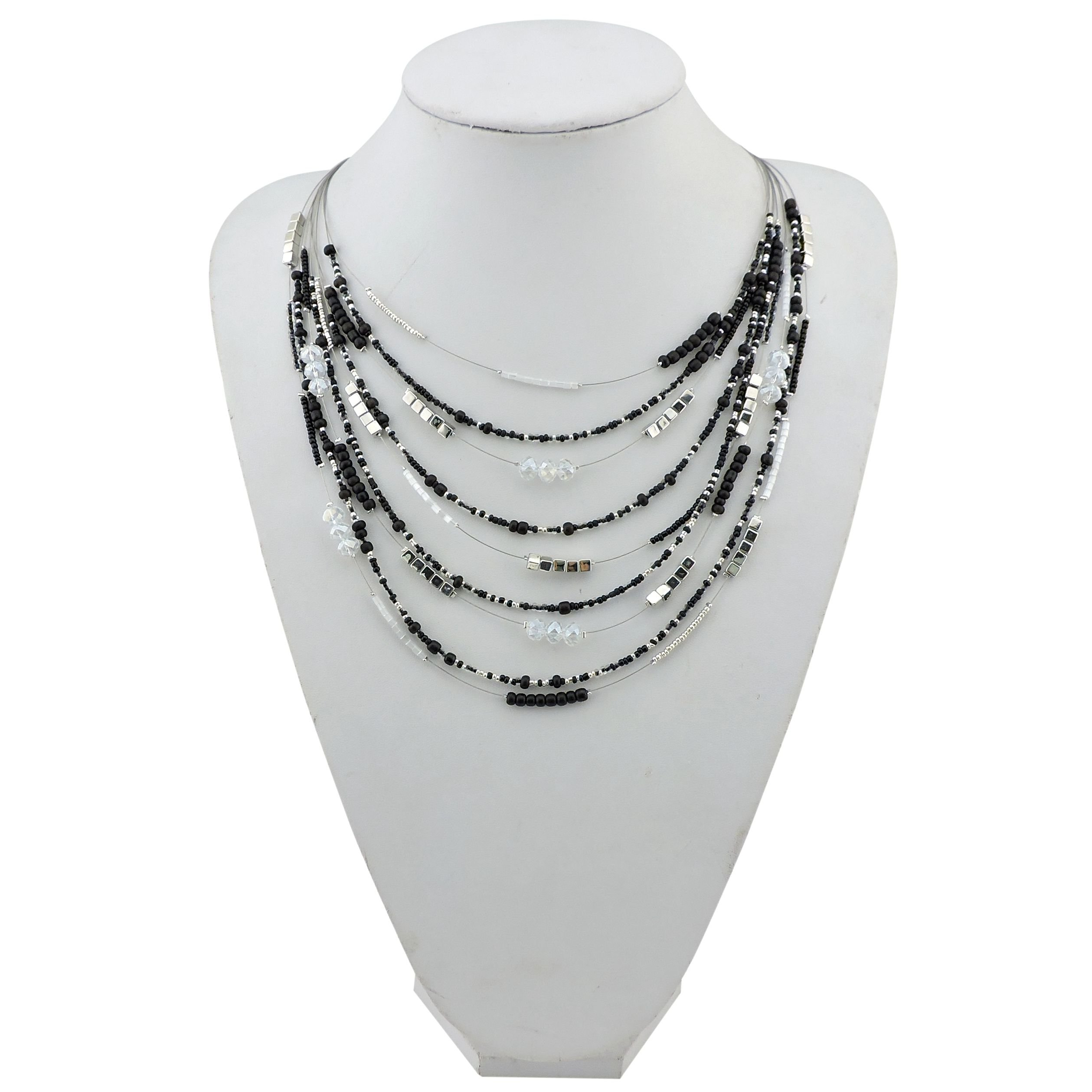 BOCAR Multilayer Colorful Handmade Seed Beads Illusion Chain Bib Necklace Wedding Bridal Jewelry (NK-10315-black)