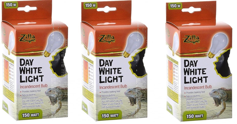 (3 Pack) Zilla Reptile Terrarium Heat Lamps Incandescent Bulb, Day White, 150W