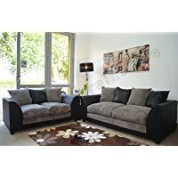 Dylan Byron Black and Grey Fabric Sofa Settee Couch 3+2 Seater