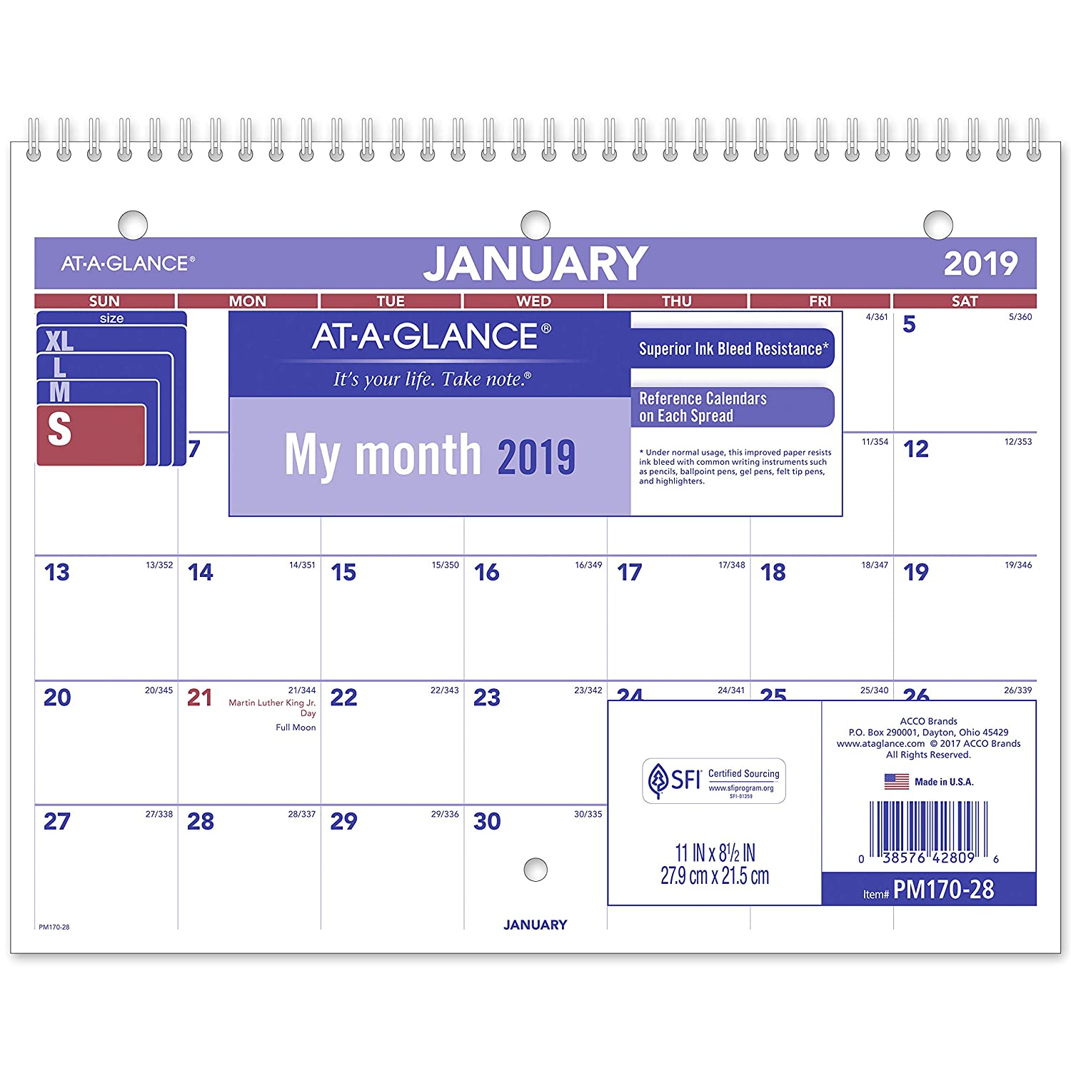 AT-A-GLANCE 2019 Desk Calendar, Desk Pad, 8-1/2 x 11, Small, Wirebound (PM17028) 8-1/2 x 11 ACCO Brands PM1702819