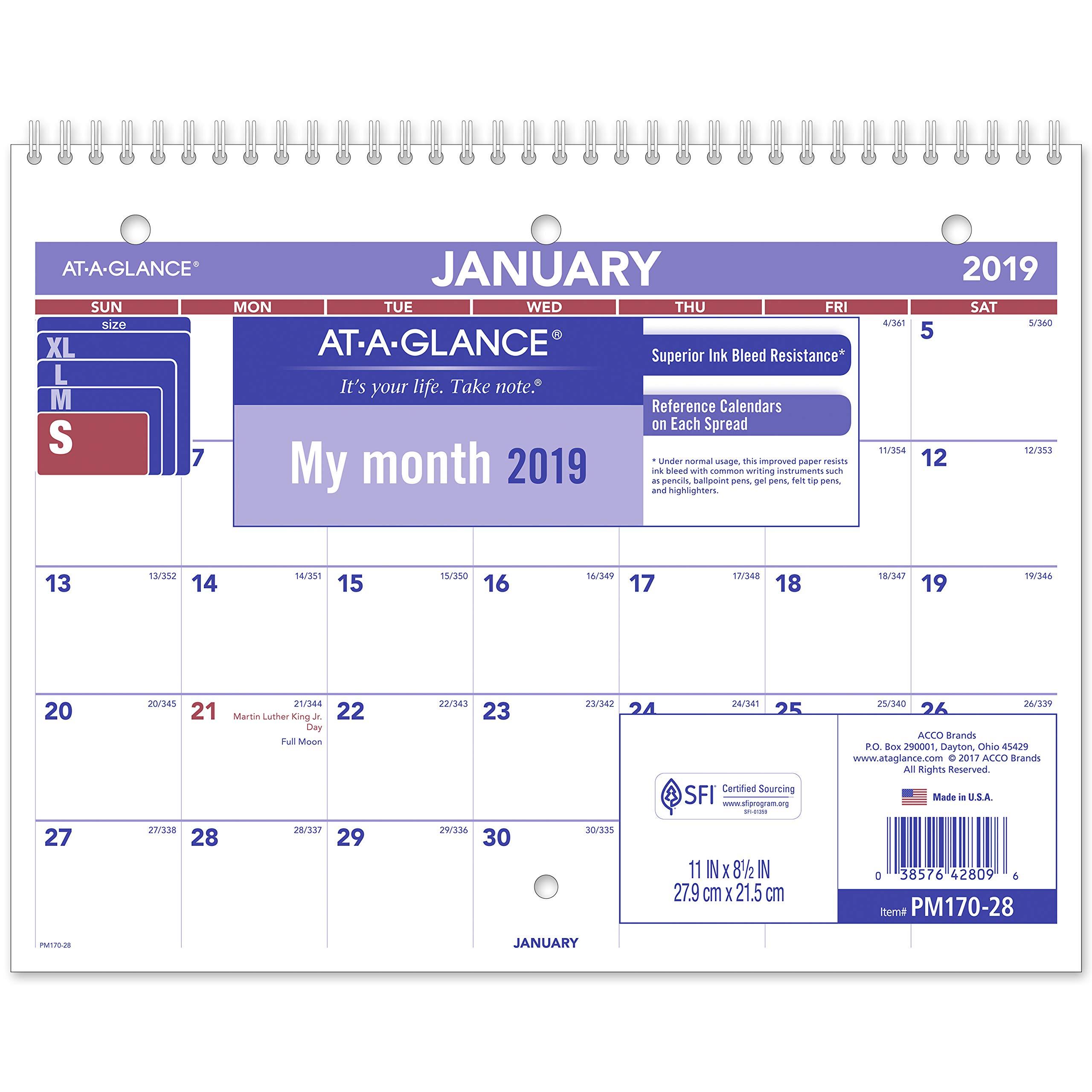 AT-A-GLANCE 2019 Desk Calendar, Desk Pad, 8-1/2'' x 11'', Small, Wirebound (PM17028)